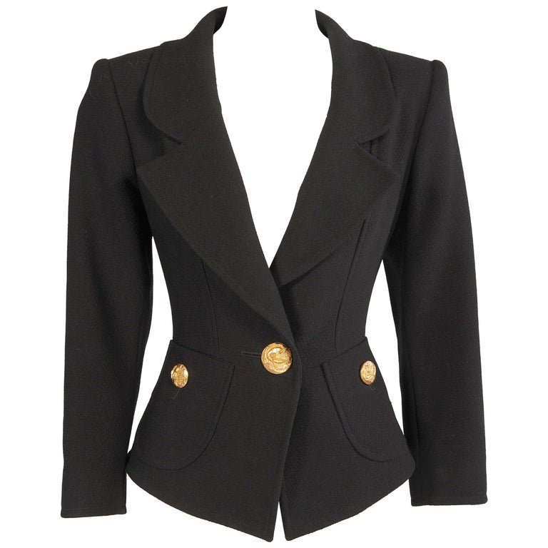 Christian Lacroix Black Wool Crepe Jacket