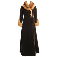 1970's Yves Saint Laurent Haute Couture Sable Trimmed Velvet Maxi Coat