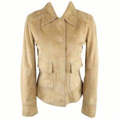 DOLCE & GABBANA Size 4 Beige Suede Blue Stitching Snap Jacket