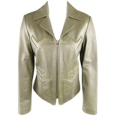 BARNEY'S NEW YORK Size 6 Olive Green Leather V Detailed Jacket