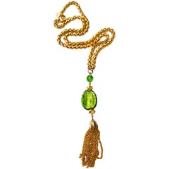 Dominique Aurientis Citris Green Glass Tassel Necklace