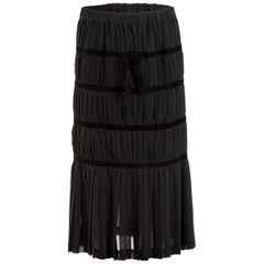 Comme des Garçons Black Silk and Velvet Pleated Midi Skirt