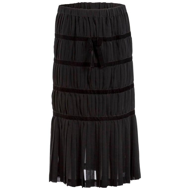 d90ae93d145c Comme des Garçons Black Silk and Velvet Pleated Midi Skirt For Sale ...