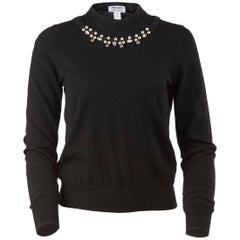 Comme des Garçons Pearl and Crystal Embellished Black Mock Neck Sweater