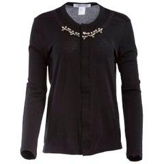 Comme des Garçons Black Wool Pearl Embellished Cardigan