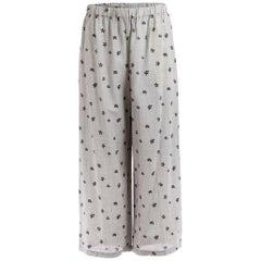 1990's Comme des Garçons Woven Wide Leg Embroidered Pants
