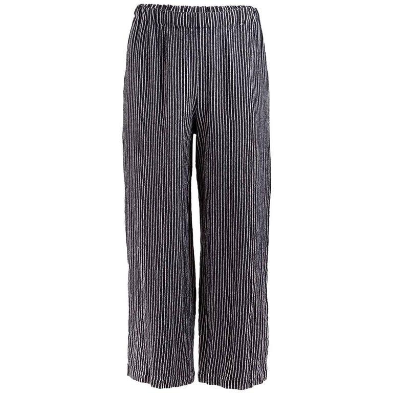 Comme des Garçons Navy Pinstriped Wide Leg Pants