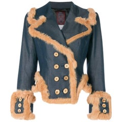 1990s JOHN GALLIANO  double-breasted denim jacket fur trim