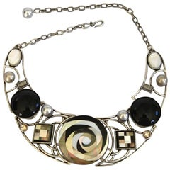 Philippe Ferrandis Mother of Pearl and Glass Geisha Necklace