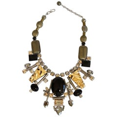 Philippe Ferrandis Pyrite, Glass, and Swarovski Crystal Necklace