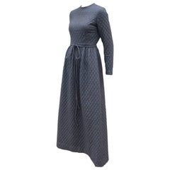 Austere C.1970 Anne Fogarty Quilted Charcoal Gray Wool Hostess Dress