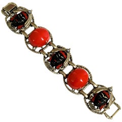 Vintage Asian Princess Bracelet - Rare - Selro - Large Cabochon