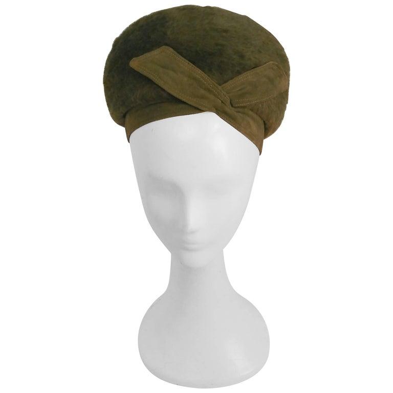 1960s Moss Green Felt Hat w/ Crossover Ribbon Detail