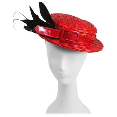 1950s Red Hat with Patent Leather Hatband & Feathers