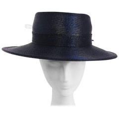 1980s Woven Large Brim Flat Top Hat w/ Hat Pin