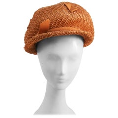 1960s Straw Cap w/ Grosgrain Ribbon Detail