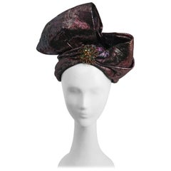 1980s Metallic Pink/Purple Wrapped Turban Hat w/ Bow