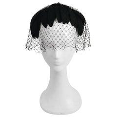 1950s Black Petals Veiled Cocktail Hat