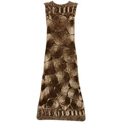 1960s Brown Sequin Sleeveless Cocktail Dress
