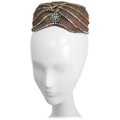 1960s Small Hat w/ Rhinestone Swirls