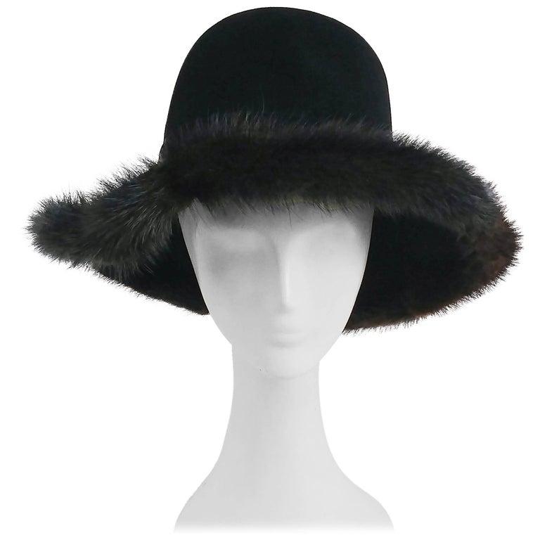 1970s Wide Brim Hat w/ Brown Mink Trim For Sale