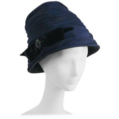 1960s Navy Blue Ruched Cloche