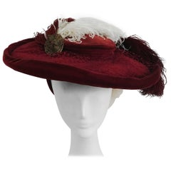 1940s Red Bordeaux Velvet Hat w/ Ostrich Feathers