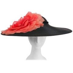1950s Wide Brim Hat w/ Large Flower