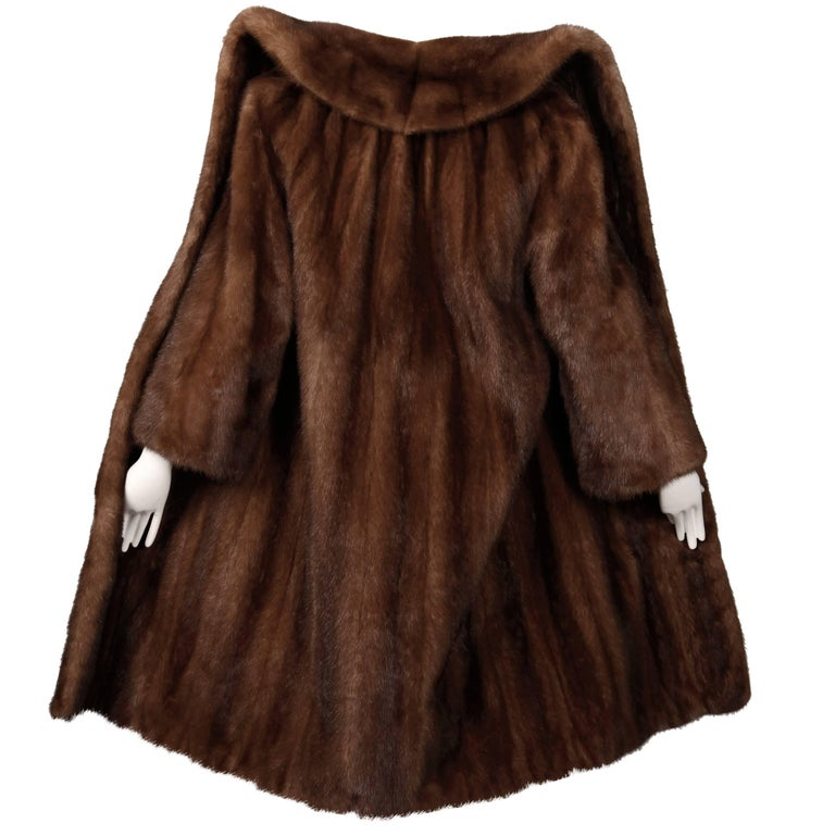 Pristine 1970s Vintage Female Pelts Brown Mahogany Mink Fur Coat ...