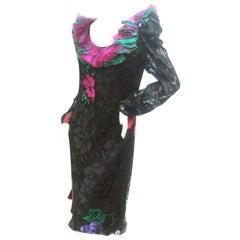 Judy Hornby Couture Black Silk Floral Burnout Dress c 1990