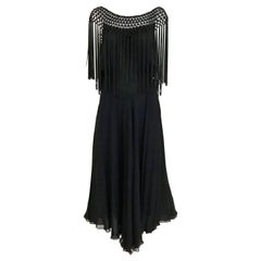 1970s Black Silk Fringe Cocktail Dress