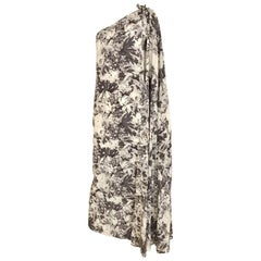 JEAN PATOU Grey Floral Print 1970s One Shoulder Silk Dress