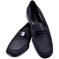 Prada Vintage 1990s Shoes Black Fabric Loafers Size 38