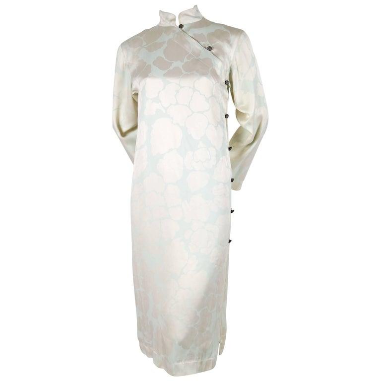 1970's YVES SAINT LAURENT eau de nil printed silk Cheongsam dress