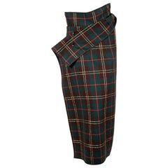 1999 COMME DES GARCONS tartan wool & lurex wrap skirt with safety pin