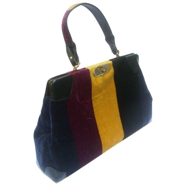 Roberta Di Camerino Italian Chic Velvet Striped Handbag c 1970  For Sale