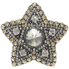 LANVIN Star Ring in Silver metal and White and Gold Rhinestones Size 55FR - 7US