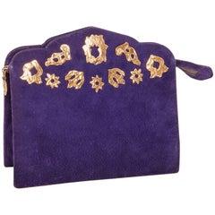 Vintage YVES SAINT LAURENT Clutch Bag in Purple Velvet Calfskin