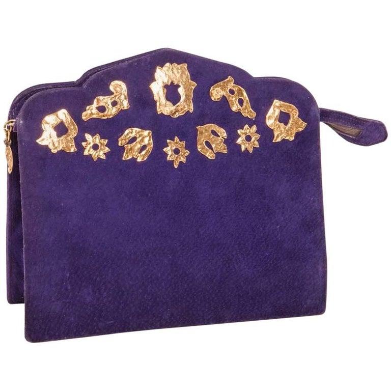 Vintage Yves Saint Laurent Clutch Bag In Purple Velvet