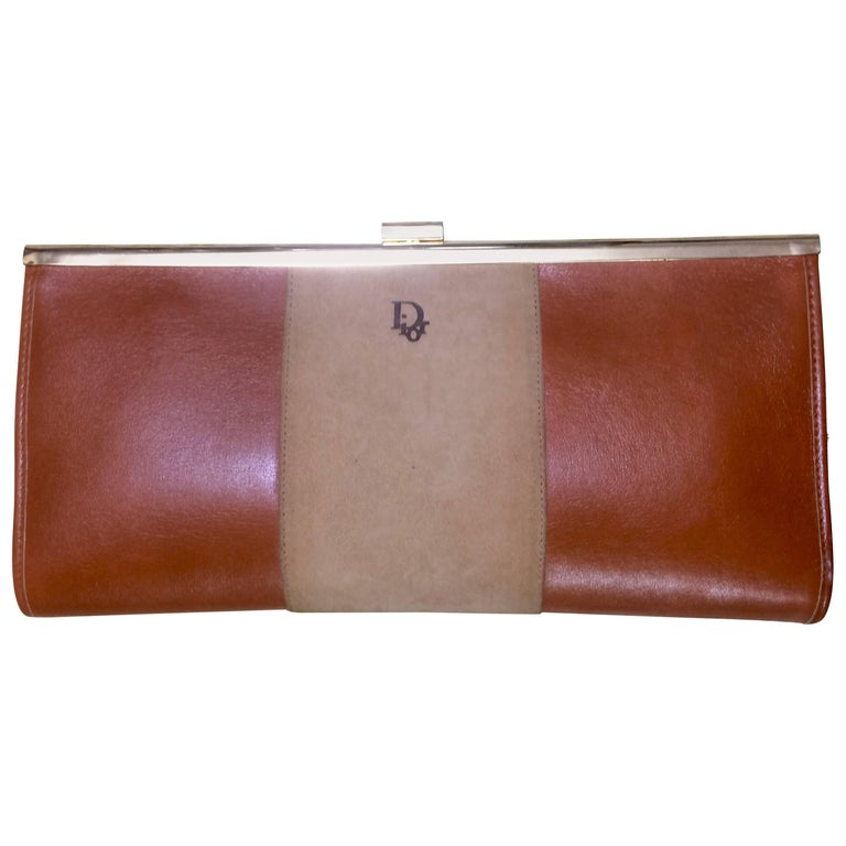 Vintage Christian Dior beige suede and tanned brown leather clutch purse