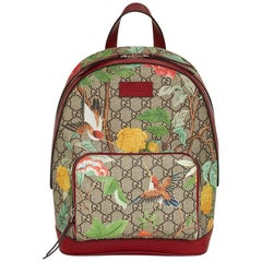 2017 Gucci Tian GG Supreme Canvas & Red Calfskin Leather Backpack