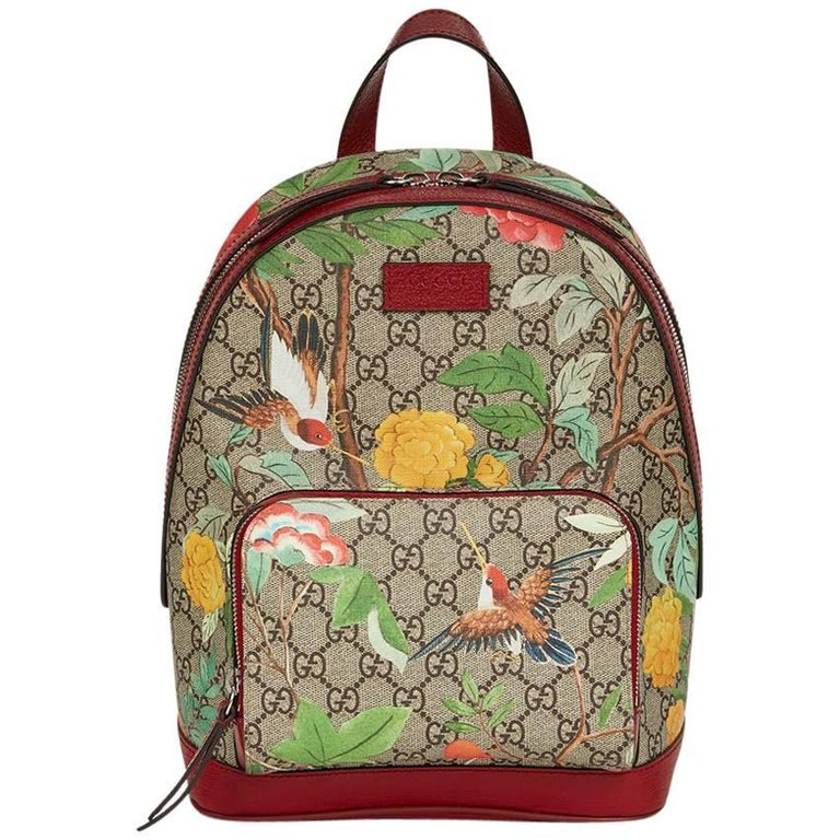 0e393fc26f71 2017 Gucci Tian GG Supreme Canvas & Red Calfskin Leather Backpack For Sale
