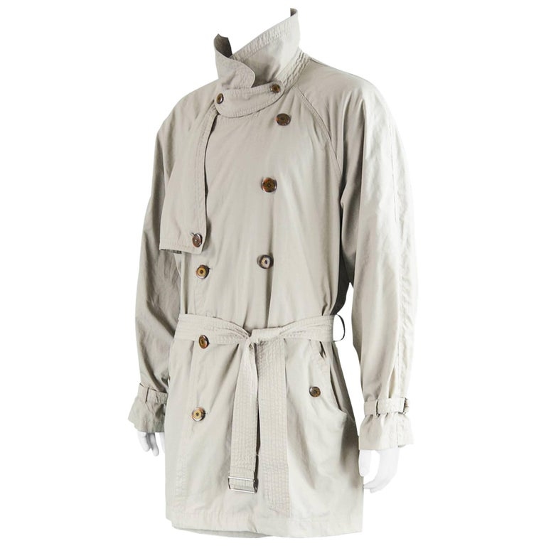 Yves Saint Laurent Men's Lightweight Cotton Double Breasted Trenchcoat, 1990s 1