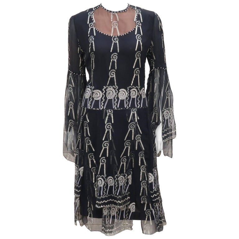 Fab 1970's Zandra Rhodes Hand Painted Black & Silver Silk Chiffon Dress 1