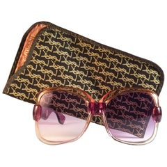 New Vintage Yves Saint Laurent YSL 541 Clear Magenta 1970 France Sunglasses