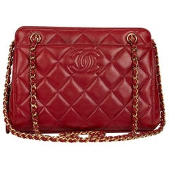 1990s Chanel Red Quilted Lambskin Leather Vintage Timeless Frame Bag