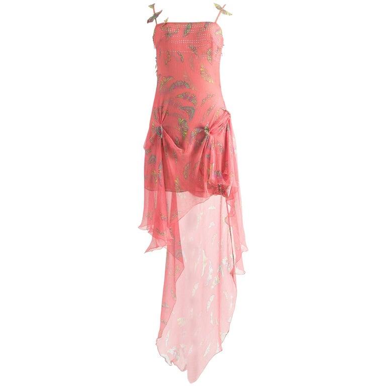 Gianni Versace Autumn-Winter 1999 pink silk chiffon butterfly mini dress