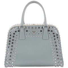 Prada Pyramid Top Handle Bag Studded Vernice Saffiano Leather Large
