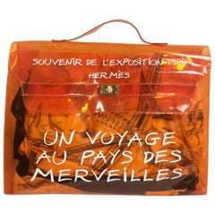 Hermes a rare transparent Vintage orange vinyl Kelly bag Japan Limited Edition.