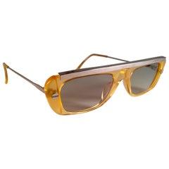New Vintage Jean Paul Gaultier 55 0771 Amber & Silver JPG 1980 Sunglasses